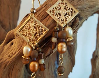 Filigree Brown Crystal Earrings