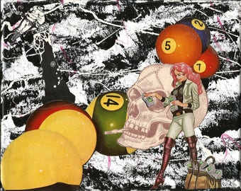 Pool balls 8x10 mixed media collage on canvas