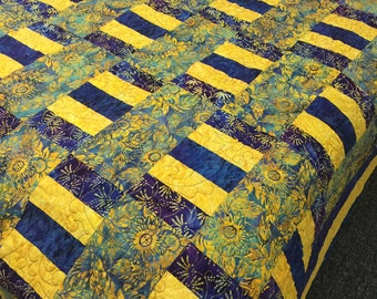 Blue and yellow patchwork Quilt queen size