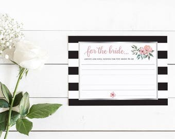 Floral Stripe Advice and Well Wishes for the Bride Cards