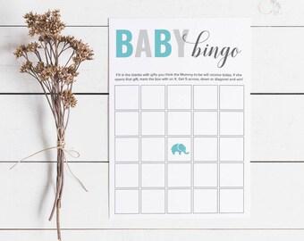 Blue Elephant Baby Shower Bingo, Baby Shower Bingo Cards