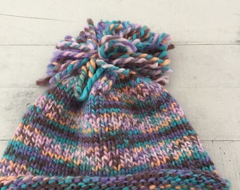 Hand Knit Baby/Toddler Hat, Purple, Multi-colored, Beanie, Pom Pom
