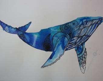 Ink on Paper: Whale Painting