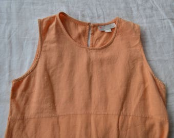 Vintage Peach Mid Length Cotton and Linen Dress / 90's /