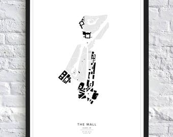 The Mall Map Print, London Map Poster, City Maps, Nolli, Figure Ground, City Art, Map, UK, Great Britain, Gift Idea, Poster, Travel Map