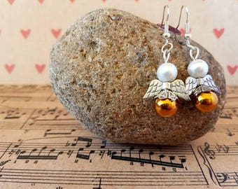Angel earrings-gold and silver