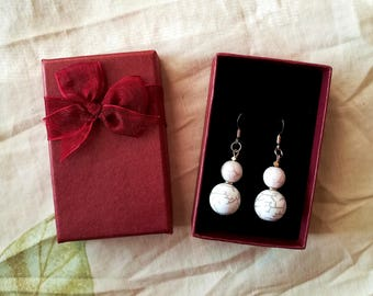 Stone earrings- Drop earrings- real stone earrings-dangle earrings- Gold filled - White stone dangle earrings - simple earrings
