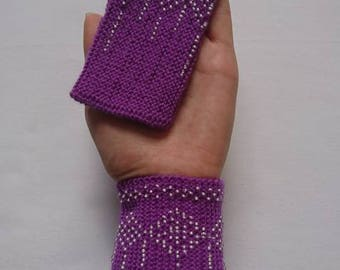 Hand knitted beaded wrist warmers