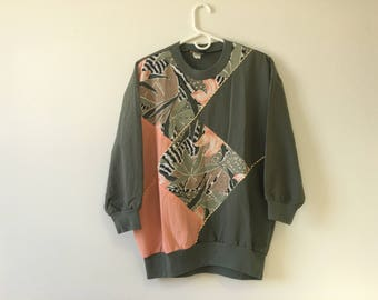 90s Crew Neck Shirt with  3 Quarter Sleeve & Patchwork Detail L