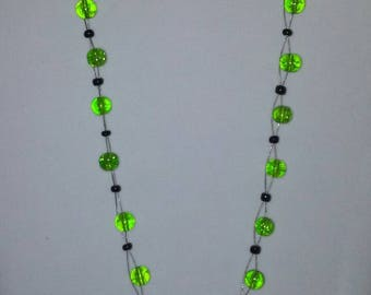 ON SALE! Green glass bead beaded illusion necklace