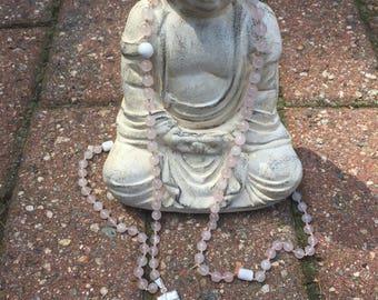 Rose quartz mala beads - Selenite guru bead - Hand-knotted mala beads - Meditation mala beads