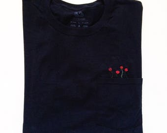 Rose Garden Hand Embroidered Pocket Tee, Four Red Roses Hand Stitched Originally Designed Handmade Black Floral Botanical Clothing T-Shirt