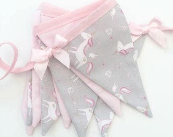Unicorn Bunting, Party/Bedroom Decoration, Pink and Grey Bunting, Pink Bows, Girly Bedroom Decor, Unicorns
