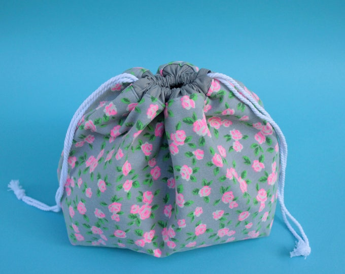 REVERSIBLE Large Drawstring Project Bag