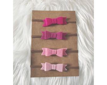 PINK Felt Bow Set // Nylon Headband, Baby Headband, Newborn Headband, Hair Bows, Hair Clips