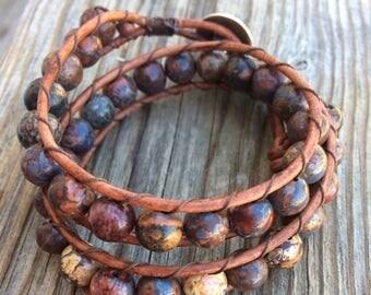 Ladder wrap bracelet/boho beaded bracelet/leather bracelet/wrap bracelet