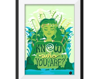 Moana, Art print, TE FITI Poster, mother earth Goddess, digital painting, wall art, home decor, disney, do you know who your are?  authentic