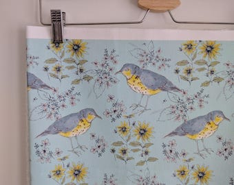 Song Thrush and Flora Fabric Design