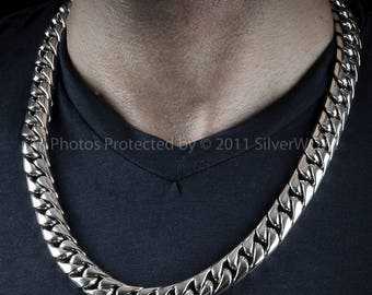 10k Gold Cuban Link Chain >> 32mm Chunky MASSIVE Miami Cuban Link Chain Necklace Heavy Duty