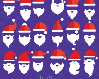 Santa hat beard svg santa hat dxf santa hat with beard santa hat applique design santa claus hat beard svg png pdf dxf files cutting files