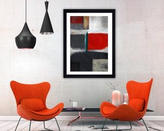 Grey Abstract art, orange Contemporary art, grey Modern art, orange abstract print, abstract Wall art, orange wall art, minimalist print