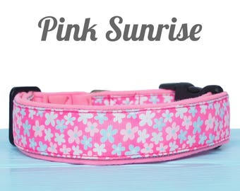 Pink Floral Nylon Dog Collar With A Soft Lining