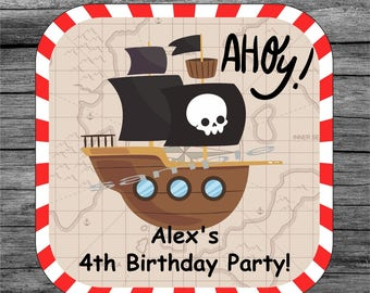20 Pirate skull birthday coaster, Personalized coaster, Custom coaster, Birthday gift, Drink coaster, Mug coaster, 4th Birthday Party