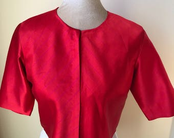 Raw mango red mashru silk blouse