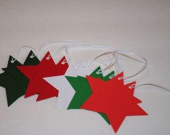 Star Gift Tags, Christmas Gift Tags, Holiday Gift Tags, Red Green & White Gift Tags, Set of 10 Gift Tags, Christmas Tags, Christmas Stars