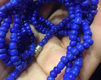 Vintage 1940 Cobalt Lapis Color Blue Glass Natural Beaded Twist 3 Layer Necklace