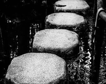 Stone Path, Zen Garden, Kyoto Japan - Silver Gelatin Print