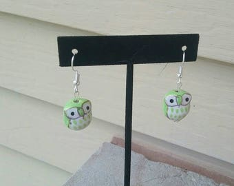 Silver Dangle Earrings with Light Green Ceramic Owls // Women's Jewelry // Made by A Sky Full of Beads