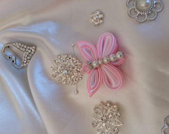 pink satin ribbon and white satin - A Butterfly you choose the backing: hair clip, brooch, comb or headband
