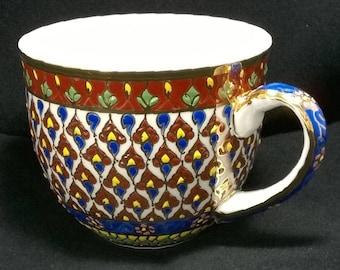 THAI BENJARONG  ceramic pottery PORCELAIN Cup Saucer gift