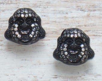 Micro Pave CZ Buddha Head Beads in Gunmetal, Pave Buddha Beads, Buddha Beads