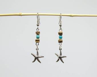Coco & star earrings silver starfish