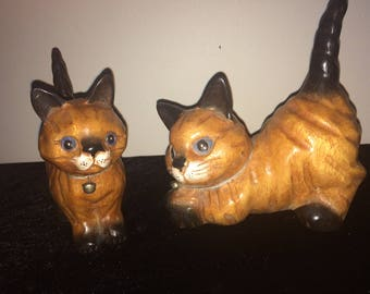 Hand carved Polished Cat & Kitten