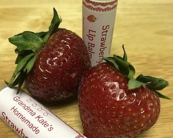 Strawberry Lip Balm Beeswax Chapstick Tube Butter Gloss