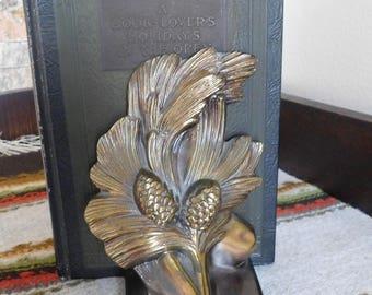 Vintage Art Nouveau Pine Cone Bookends