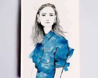 Jenny #1 Fashion Illustration Print, Fashion Sketch, Fashion Drawing, Fashion Art, Fashion Poster, Fashion Wall Art, Fashion Watercolour