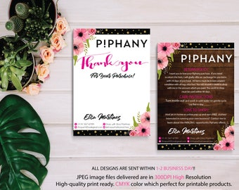 Piphany Thank You Card, Piphany Care Instruction Card, Watercolor Flower Card, Custom Piphany Marketing, Printable Card - Digital file PP05