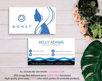 Monat Business Cards, Custom Monat Business Card, Fast Free Personalization, Custom Monat Hair Care Card, Printable Business Card 1059