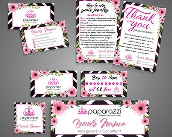 Paparazzi Bundle, Paparazzi Kit, Floral Flower Cards, PERSONALIZED Paparazzi Business Cards, Free Personalization, Printable file PP14