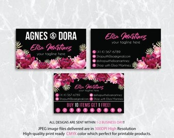 Agnes Dora Business Cards, Agnes and Dora Punch Card, PERSONALIZED Agnes Dora Cards, Agnes Dora Marketing, Floral Flower, Printable AG16