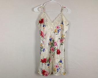 Vintage floral silk slip dress size L