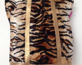 Faux fur Tiger tote bag
