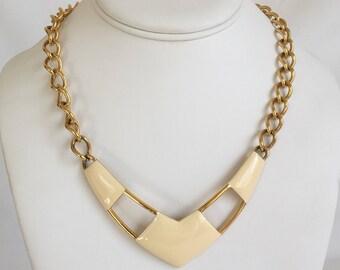 Monet Cream Enamel Chevron Necklace, Bib Necklace, Gold Tone Chain, Geometric, Vintage, 1980s