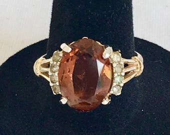 KaratClad 18KT HGE ESPO Ring, Topaz Color Rhinestone Ring, Faux Topaz Ring, Gold Tone, Size 9, Vintage, 1970s