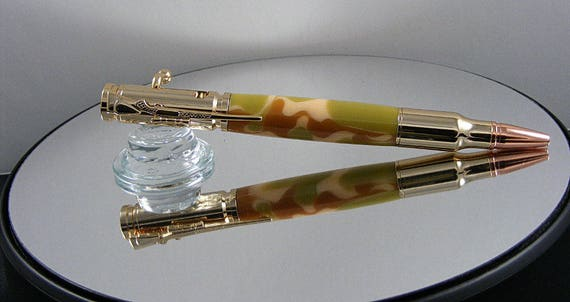 Handcrafted Bolt Action Ink Pen in 24kt Gold and Desert Camo Acrylic