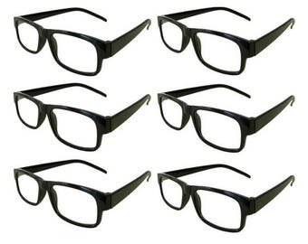 Mr. Reading Glasses 6 Black Plastic Frame Men/Women Vintage Reader Wholesale +3.50